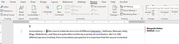 Corection in MS WORD sample
