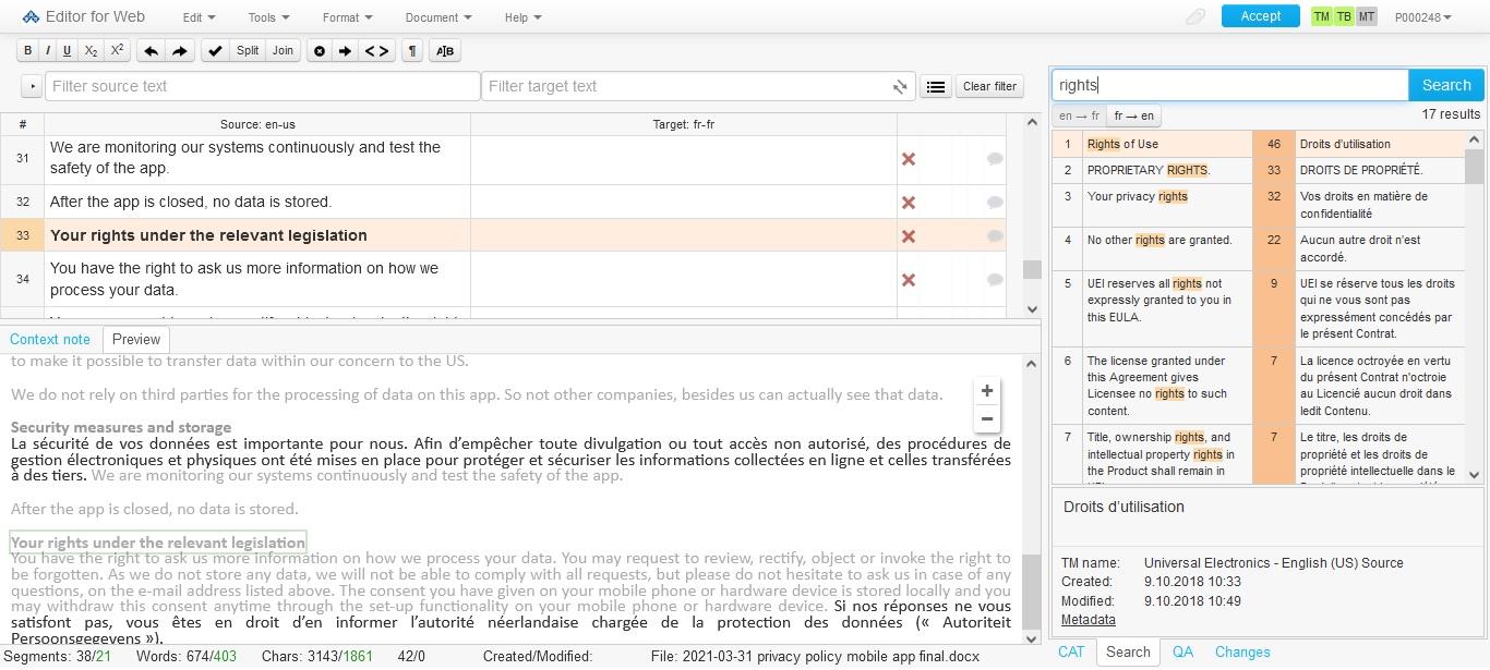 Memsource screenshot